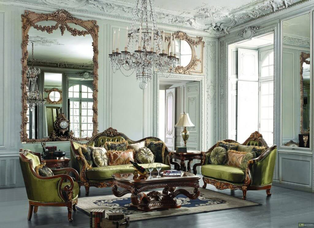 Traditional Carved Wood Sofa Set With Green Leather For Amazing As Wells Living Room 30 Inspiring Pictures